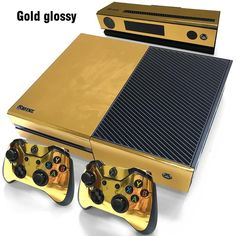 Gold Glossy Skin For #xbox One Console and Controller
