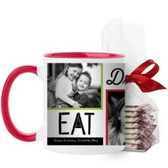 Eat Drink Be Merry Mug, Red, with Ghirardelli Peppermint Bark, 11 oz, Red