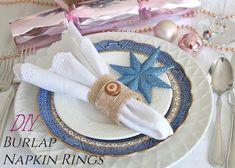 DIY Burlap Napkin Rings Christmas Napkin Rings, Christmas Napkins, Let's Create, Quilt Designs, Sewing Hacks, Free Pattern, Burlap, Table, Blog