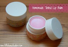 Homemade Lip Balm - with color Ingredients 2 tbsp beeswax (I used this.) 2 tbsp coconut oil  1/4-1/2 tsp vanilla extract beet root powder or a chunk of your own favorite lip color small containers