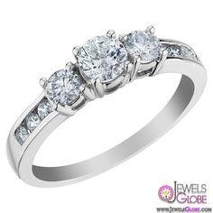 Three Stone Diamond Engagement Ring 1.0 Carat in 14K White Gold