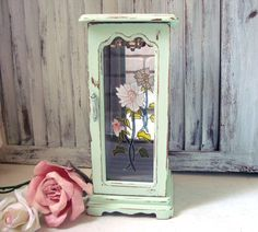 Mint Green Jewelry Box Vintage Wooden Jewelry by WillowsEndCottage, $42.00