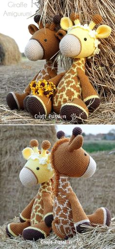 """Cute Crochet Amigurumi Ideas. These adorable giraffes are 14"""" tall (while sitting) and 17"""" (while standing). Great company for your kiddos to throw a tea party! They work up really fast and what's more, they will be perfectly safe for your kiddo, as long as you replace any plastic elements for embroidery.  #freecrochetpattern #amigurumi #toy Cute Crochet, Burlap Wreath, Tea Party, Crochet Patterns, Giraffes, Embroidery, Knitting, Toys, Yarns"""