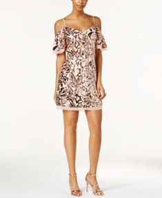 c8f0043be01 Vince Camuto Sequined Cold-Shoulder Dress Women - Dresses - Macy s