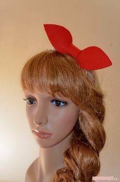 Dolly red felt bow rhinestone silver headband/large by SewingitAU, $12.00