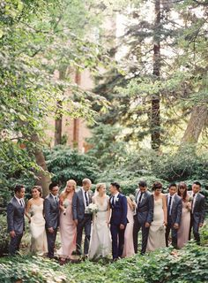 Mix and match bridesmaids and groomsmen. Pink and champagne, blue and grey