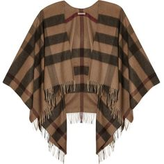 BURBERRY All-over check cape featuring polyvore, fashion, clothing, outerwear, coats, capes, tops, smoked trench, cape coat, trench coat, burberry, brown trench coat and cape trench coat