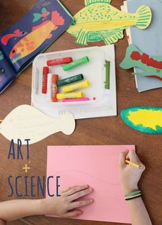 Open Ended Art and Science Fish Project : An easy lesson for kids to learn parts of the fish (like the lateral line and dorsal fin) and get creative with cutting and paint. USES LOIS EHLERT FISH EYES BOOK Preschool Learning Activities, Creative Activities, Creative Kids, Kids Learning, Early Learning, Science Activities, Science Experiments, Science Projects, Projects For Kids