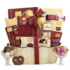 a huge godiva gift basket perfect for weddings, engagements and more. Wedding Gift Baskets, Birthday Gift Baskets, Happy Birthday Gifts, Wedding Gifts, Wine Country Gift Baskets, Kids Gift Baskets, Raffle Baskets, Godiva Chocolatier, Express Gifts