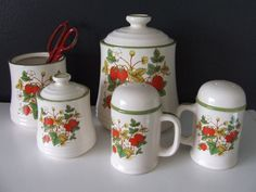 1980s Vintage Strawberry Kitchen Canisters by StilettoGirlVintage, $26.00