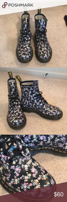Dr. Martens boots (floral) The flowers design is made of light purple and yellow flowers. Worn only a few times. Dr. Martens Shoes Combat & Moto Boots