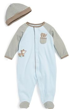 Little Me 'Woodland' One-Piece & Hat (Baby Boys) available at #Nordstrom. sweet