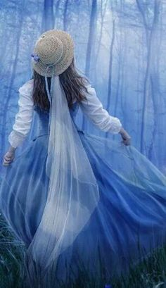 Girl in the blue mist.