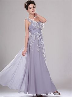 One Shoulder with Appliques Long Chiffon Prom Dress PD11139 www.dresseshouse.co.uk $118.0000