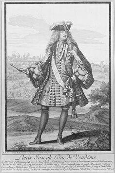 Louis-Joseph, duc de Vendôme (1654-1712) 17th c. print.