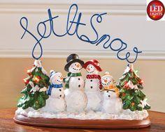"Winter Snowman Family color changing LED lights ""Let it Snow"" Figurine Snowmen"