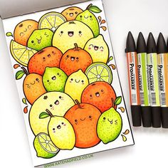 Happy citrus fruit! Playing around with coloured kawaii doodles for this week's IFDrawAWeek prompt! kawaii art | Kate Hadfield | sketchbook drawing