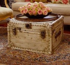 rustic trunk - definitely need this to store all of our blankets