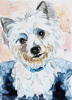 CUSTOM PAINTINGS / MIXED MEDIA ON YUPO PAPER / PORTRAITS / PETS / RESCUED PETS / DOGS by Shaina Kay Stinard - Artist.   www.shainastinardartist.com  Making your photos a work of art!  'Darby' - 5 x 7 watercolor with pen and ink on YUPO paper
