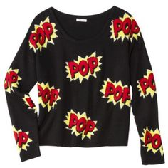 POP cartoon sweater Edgy  Pop cartoon style sweater! Holds a dear place in my heart, but it needs a new home ☺️ Super rad design, one of a kind statement piece! Says XS on the tag, but can fit a size Small as well as XS  ❗️$12 on my Ⓜ️ercari❗️ Xhilaration Sweaters Crew & Scoop Necks