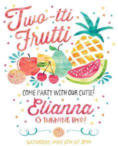 2nd birthday theme Fruit Birthday, 2nd Birthday Party Themes, Second Birthday Ideas, Girl Birthday Themes, Baby Birthday, First Birthday Parties, Birthday Party Invitations, First Birthdays, Tutti Frutti