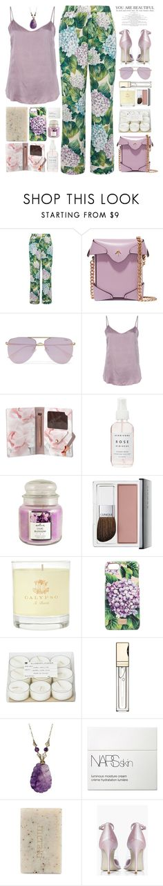 """""""Hydrangea"""" by doga1 ❤ liked on Polyvore featuring Dolce&Gabbana, MANU Atelier, Le Specs, RtA, Ted Baker, Herbivore, Hallmark, Clinique, Calypso St. Barth and Broste Copenhagen"""