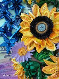 Картина панно рисунок Квиллинг Мои любимые подсолнухи  Бумага фото 5