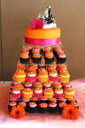 Pink and Orange Wedding Cake - Whipped Bakery