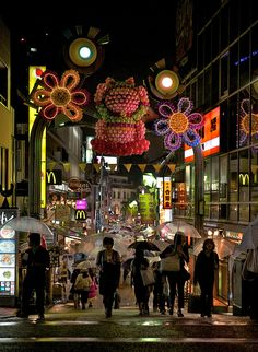 visitheworld:    Rainy night in Harajuku district, Tokyo, Japan (by Larry Johnson).