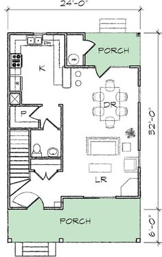 Turn-of-the-Century House Plan - floor plan - Main Level U Shaped Kitchen, Hip Roof, Apartment Plans, Storage Room, Front Porch, Laundry Room, Tiny House, Architecture Design, Master Bedroom