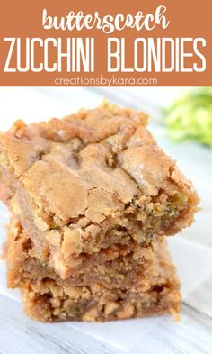 Rich and chewy, these Butterscotch Zucchini Blondies are sure to be a favorite. A seriously tasty way to use up your zucchini! #zucchini #zucchinirecipe #zucchiniblondies #zucchinibars #butterscotchbars -from Creations by Kara Brownie Recipes, Cookie Recipes, Snack Recipes, Dessert Recipes, Great Desserts, Delicious Desserts, Yummy Food, Yummy Zucchini Recipes, Best Granola Bars