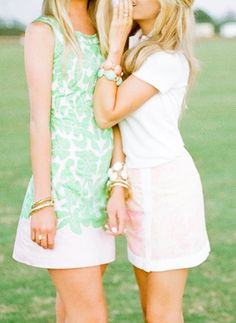 @ Golden White Décor in Lilly Pulitzer Capricia Dress & Spence Skort