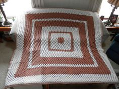83 Square Crochet Granny Afghan Cream Tan XL Blanket by 2lewa