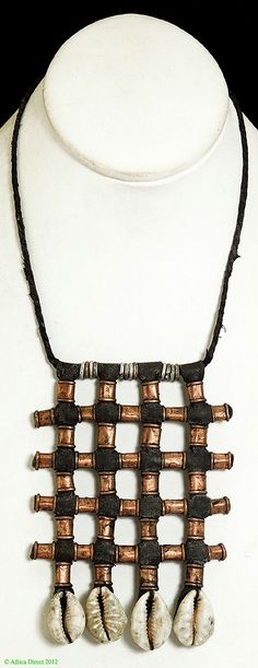Wodabe Necklace Brass Beads Cowry Shells African - African - Jewelry