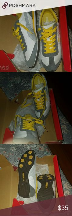 Puma slightly worn in box Steel grey, white and Yellow Puma Sneakers Puma Shoes Sneakers
