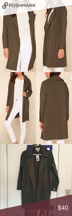 """Asymmetrical Olive Zipper Jacket Forever 21 Contemporary - A long-sleeved jacket featuring an asymmetrical front zipper, a notched lapel, and buttoned cuffs on a longline silhouette. Slanted front pockets, unlined Heavyweight, woven 83% polyester, 15% rayon, 2% spandex Dry clean only  36"""" full length, 36"""" chest, 34"""" waist, 27"""" sleeve length Jackets & Coats Trench Coats"""