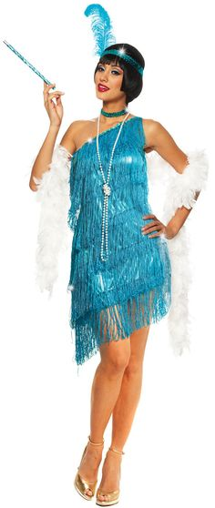 Dazzling Turquoise Flapper Costume. Halloween Bat & Boo Ball Theme Party Decorations & Ideas