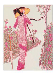 Woman In Pink Dress Giclee Print by Georges Barbier Art Deco Illustration, Fashion Illustration Vintage, Vintage Illustrations, Fashion Illustrations, Motif Art Deco, Art Deco Design, Collage Design, Art Nouveau, Inspiration Art