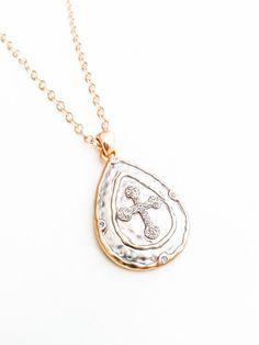 Gold Silver CZ Cross Pendant Necklace Matte Layering Free USA Shipping