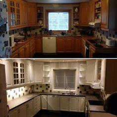 Kitchen makeover before and after. Kjøkkenlakkering før og etter.  vagane-viste.no