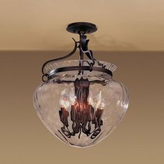Amazon.com - Acharn Semi-Flushmount With Water Glass - Large by Hubbardton Forge - Ceiling Pendant Fixtures