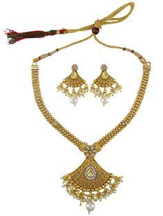 Matra Indina Designer Goldtone 2 Pcs Necklace Earring Set Women Traditional Jewellery