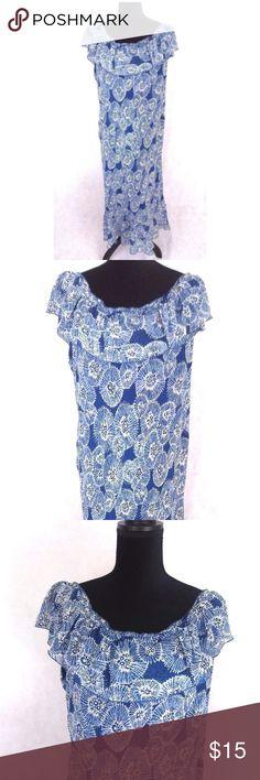 f1614de54b761c Jonathan Martin Silk Dress Sz 16 Jonathan Martin Studio SZ 16 Blue  Sleeveless Ruffle Maxi Shift