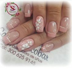 Lindas palo d rosa Gel Acrylic Nails, Gel Nail Art, Gelish Nails, Toe Nails, Bella Nails, Romantic Nails, French Tip Nails, Toe Nail Designs, Flower Nails