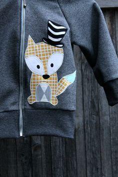 handmade hoodie, fox applique