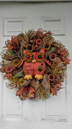 Fall mesh wreath owl wreath give thanks by WreathDesignsByLinda