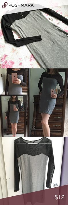 Gray Bodycon Mini Dress with Sheer Mesh Top 🌸 A tight fitting, grey Bodycon mini dress with a mesh panel neckline and long sleeves   🌸 Has a subtle sweet heart neckline    🌸 Mesh is slightly elastic (85% polyester and 15% elastic)   🌸 Dress is 96% cotton and 4% Spandex   🌸 Size small  Note: Only the dress is included in this listing Forever 21 Dresses Mini