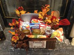 Less than $35 fall themed gift basket with items to make hot cocoa and cookies!