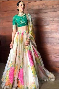 Off White Colour Organza Fabric Lehenga Choli Comes With Matching Blouse and Dupatta. This Lehenga Choli Is Crafted With Embroidery,Zari Work,Sequins Work,Thread Work. This Lehenga Is Semi Stitched an. Lehenga Choli Designs, Lehenga Choli Online, Floral Lehenga, Lehenga Style, Indian Lehenga, Silk Lehenga, Lehenga Choli Wedding, Lehenga Blouse, Bridal Lehenga Choli