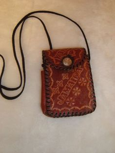 Vintage Hand Tooled Jamaica Brown Leather Cigarette & Lighter Case Cross Body